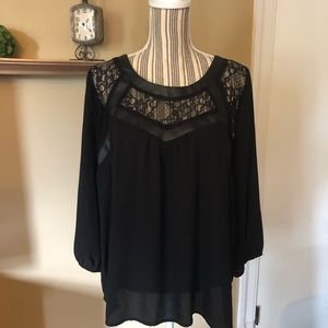 Black lace inset blouse with faux leather trim
